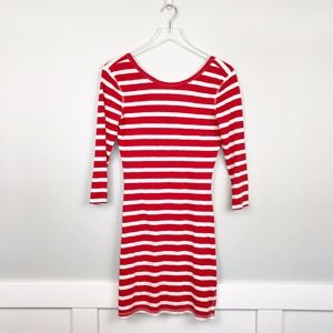 Express Striped Shirt Dress Red and White